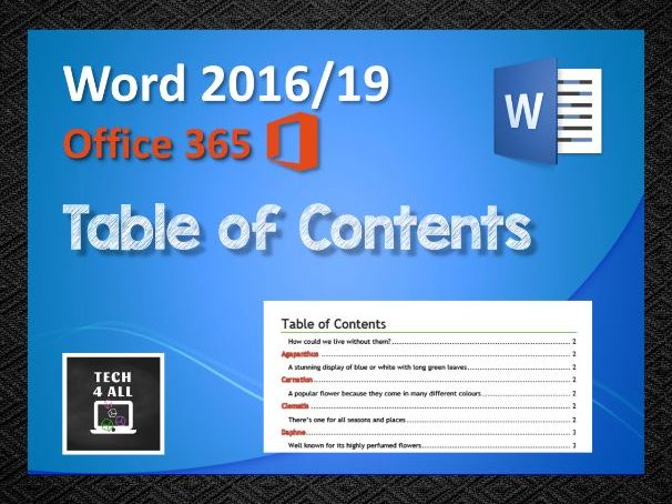 Microsoft Word: Table of Contents