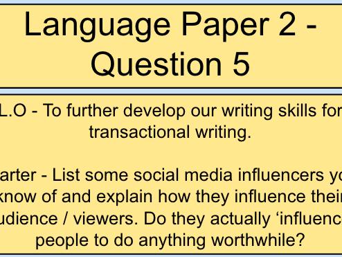 AQA Language Paper 2, Question 5 / Section B