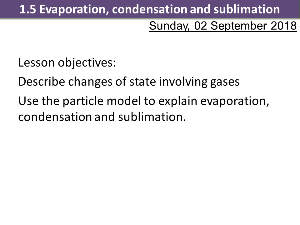 Activate 1 SOW Chemistry KS3 Chapter 1 Changes of state
