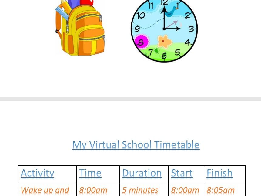 Virtual School Timetable Template