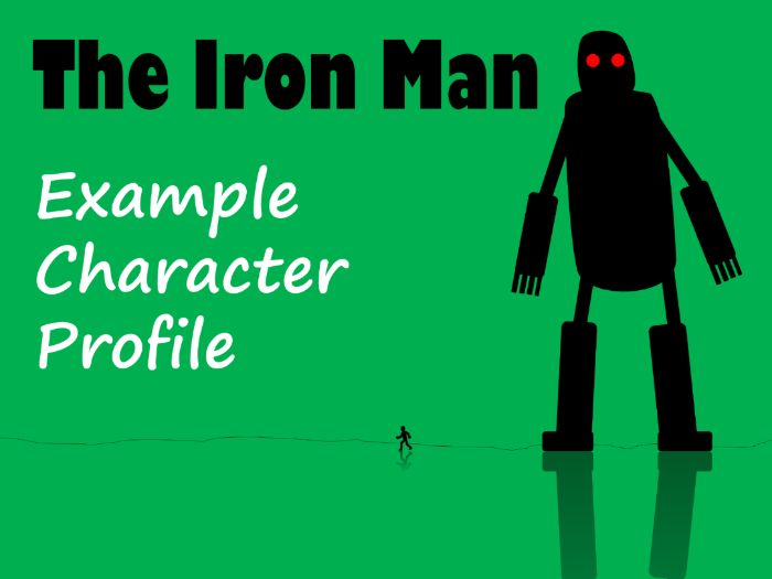 The Iron Man Character Profile Example, Feature Sheet, Answers & Template