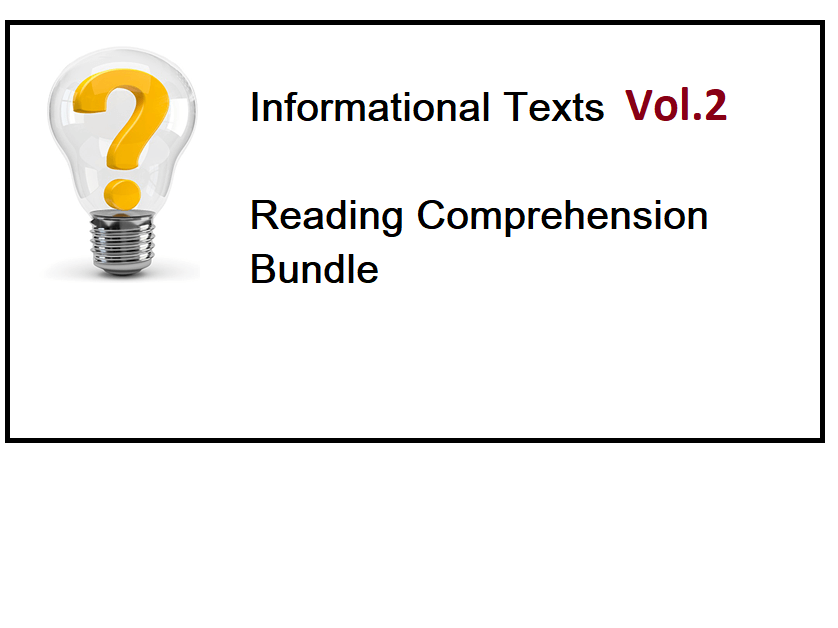 Informational Texts Vol 2 - Reading Comprehension Worksheets - Bundle (SAVE 80%)