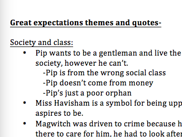 Extremely detailed GREAT EXPECTATIONS themes & quotes document