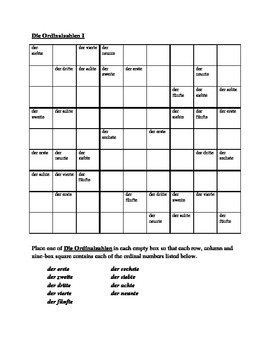 Zahlen (Ordinal numbers in German) Sudoku