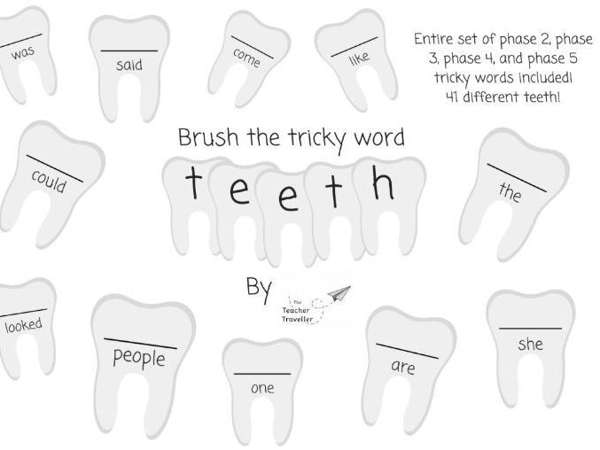 Write and brush the tricky word teeth!