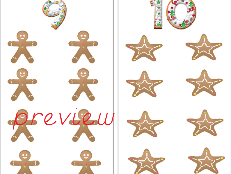 Gingerbread Counting Cards - Odds & Even
