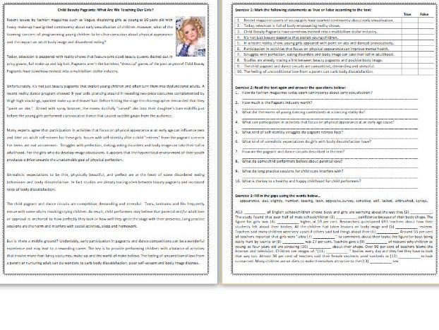 Child Beauty Pageants: What Are We Teaching Our Girls? -  Reading Comprehension Worksheet / Text