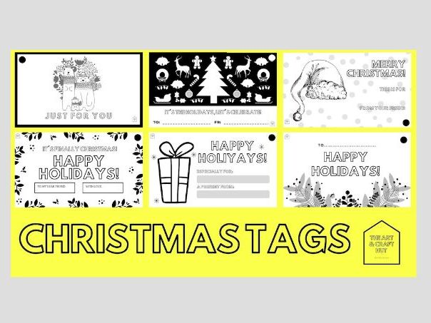 Colour in Christmas Tags | Gift Tags | XMAS Crafts | Remote Or In School Activity