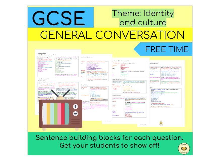 Identity and culture (free time) Sentence building blocks Spanish GCSE - Tiempo libre, aficiones