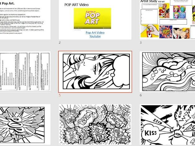 ARTIST STUDY - POP ART - ideal cover lesson - short task - ART - Worksheets, Information, Tasks