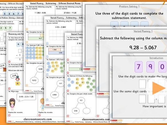 Year 5 Subtracting- Different Decimal Places Summer Block 1 Lesson Pack