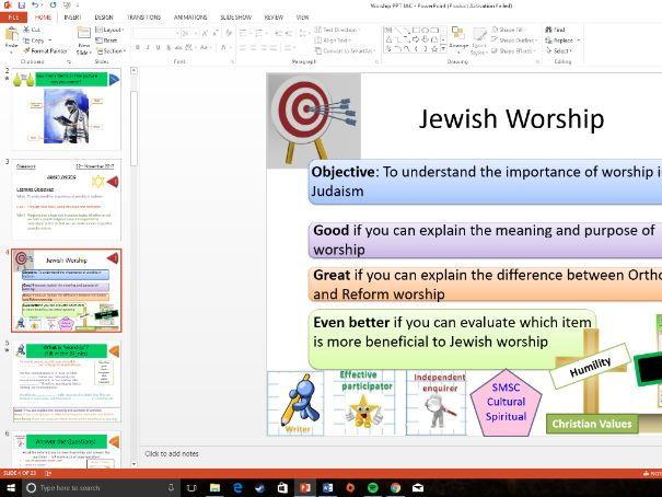 WJEC Eduqas: Judaism: Whole Lesson on Worship