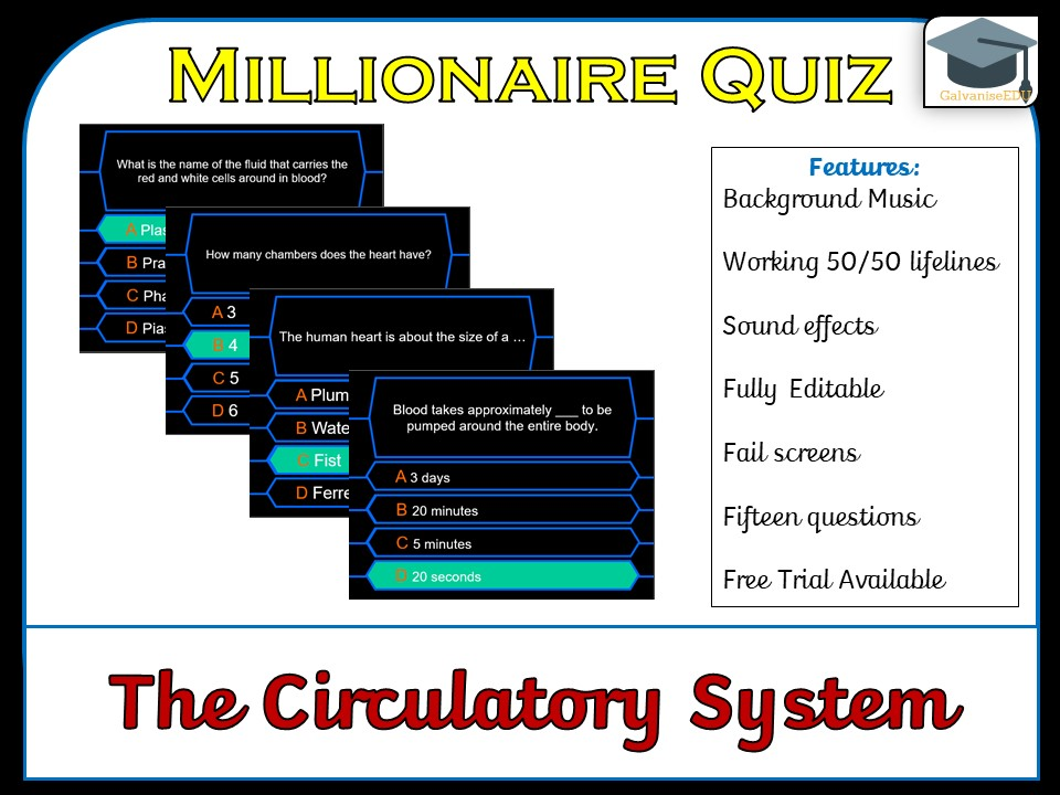 Millionaire Quiz! (Circulatory System / The Heart)