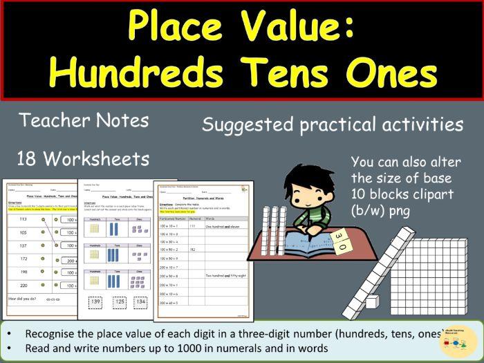 Place Value: Hundreds Tens Ones/Units, Teacher Notes, digit cards,  Worksheets/Activities - KS1