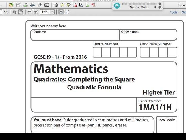 Maths GCSE Paper Compteting the Square & Factorising Quadratics