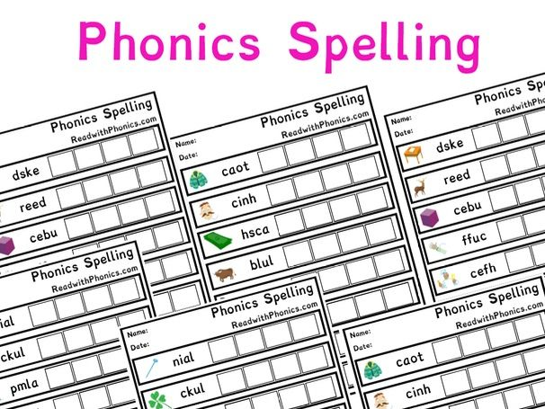 Phonics Spelling Worksheets with Pictures | Key Stage 1 | Letters and Sounds Phonics