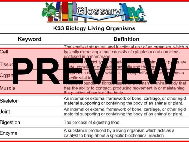 KS3 Science Glossary Biology Living Organisms (Blank & Completed)