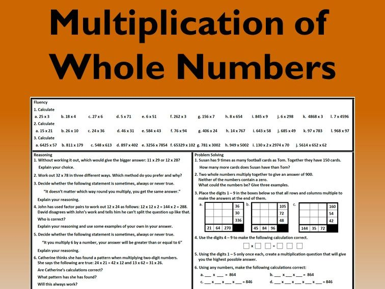 Multiplication with Whole Numbers Problem Solving Mastery Worksheet