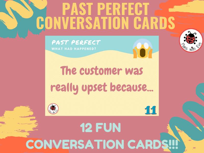 """ESL Past Perfect - Conversation Cards!  """"Explain what happened"""""""