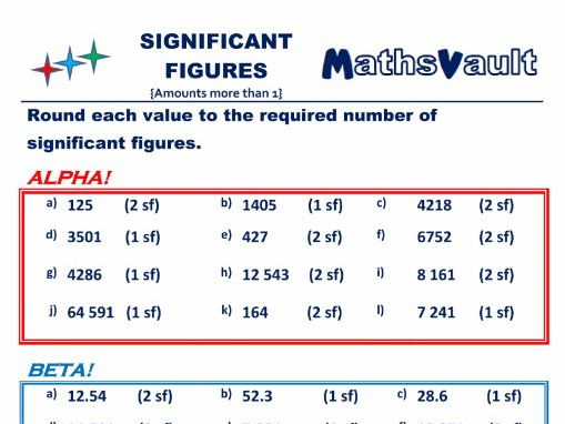 Significant Figures (greater than 1) Differentiated worksheet