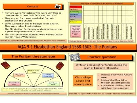 AQA GCSE 9-1 Elizabethan England 1568-1603: How much of a threat were the Puritans to Elizabeth I?
