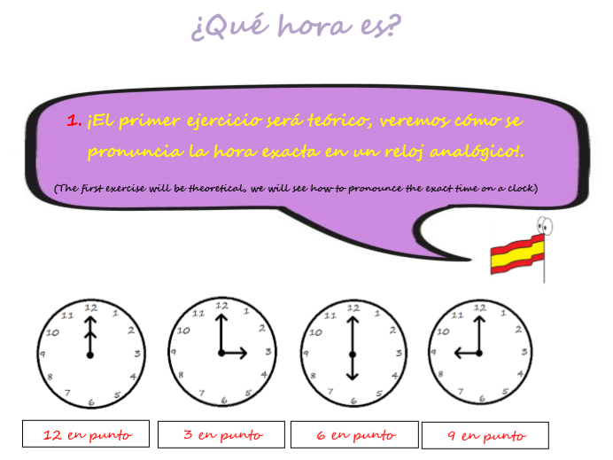 Spanish KS3. Activity to learn the time in Spanish.
