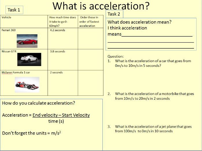 Introduction to calculating acceleration