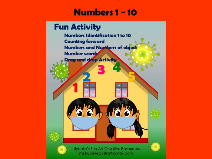 Numbers 1 - 10 (Lesson-Visual Aid - Interactive Activity) PowerPoint Presentation Editable
