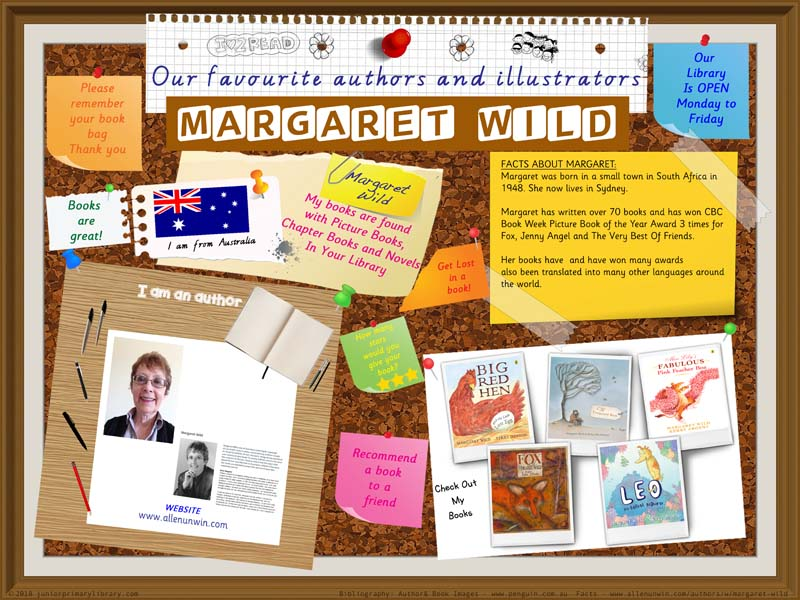 Library Poster - Margaret Wild Australian Author Of Children's Books