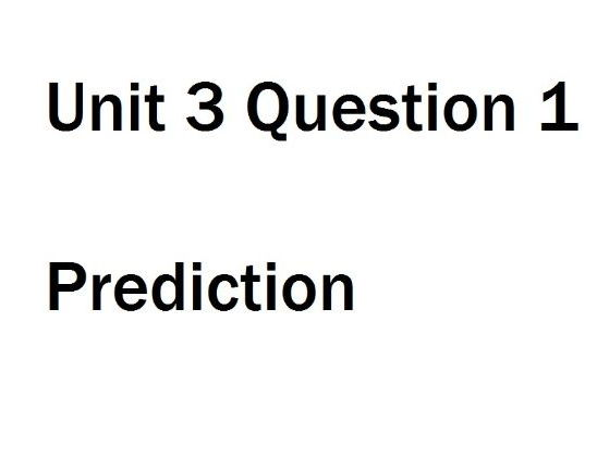 Unit 3 - International AS Level Biology - Prediction for question 1 June 2017