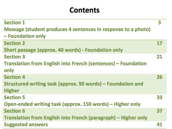 French GCSE writing workbook (AQA new spec)