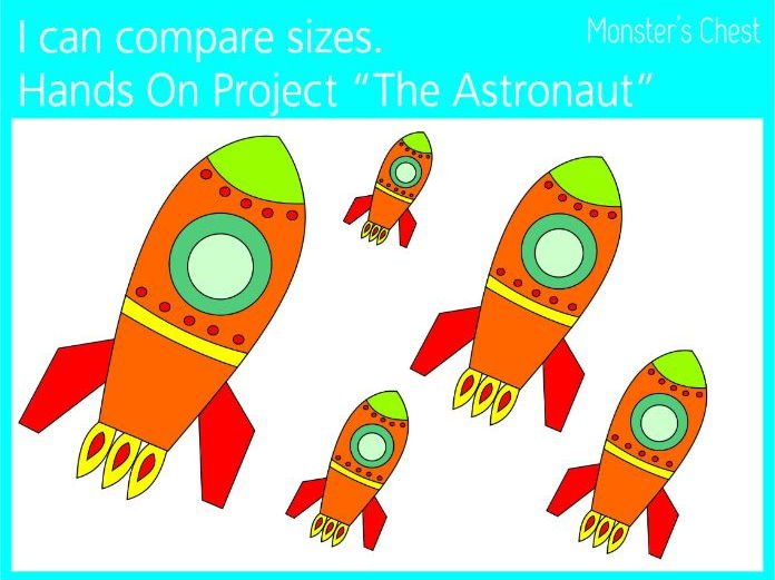 I can compare sizes. The astronaut Hands on project.