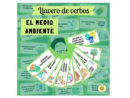 El medio ambiente: llavero de verbos. 42 tarjetas. Spanish phrases on environment.Flashcards/Display