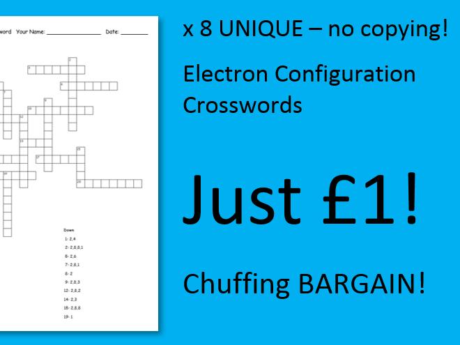 Electron Configuration x8 Unique Crosswords