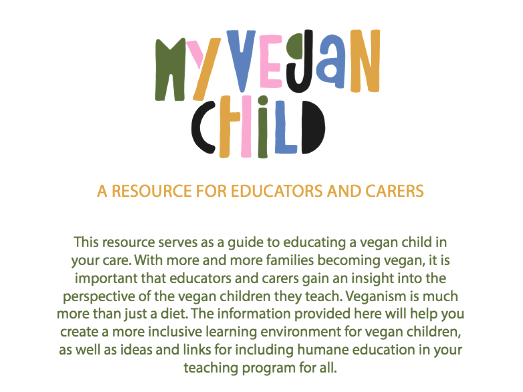 My Vegan Child - A Resource for Educators