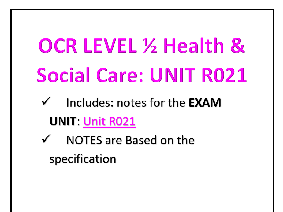 UNIT R021 BOOKLET OCR 1/2 HEALTH & SOCIAL CARE