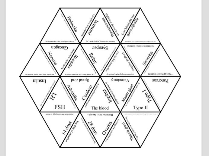 AQA Biology Paper 2 Tarsia revision activity Coordination & Control (B5)