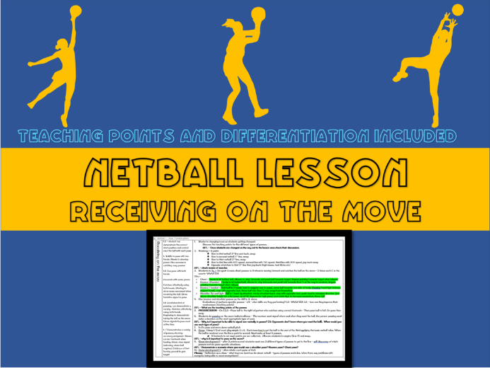 Netball lesson plan - Receiving the ball on the move (year 7)