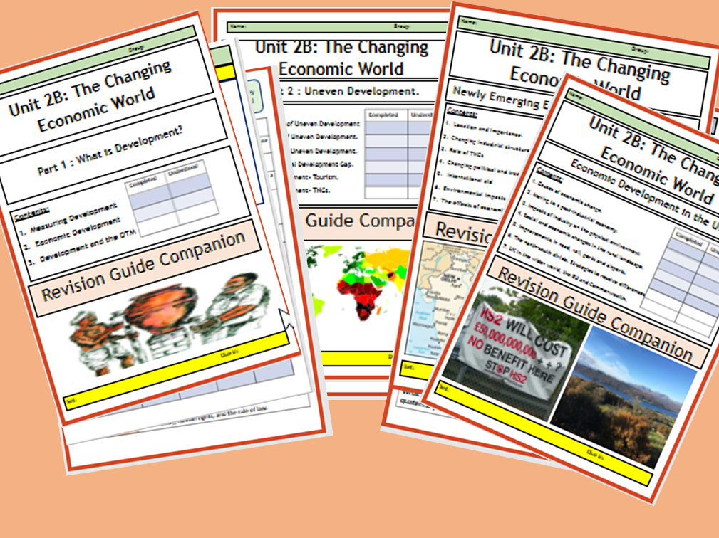 AQA GCSE 9-1: Flipped Learning Revision Booklets Unit 2B - The Changing Economic World.