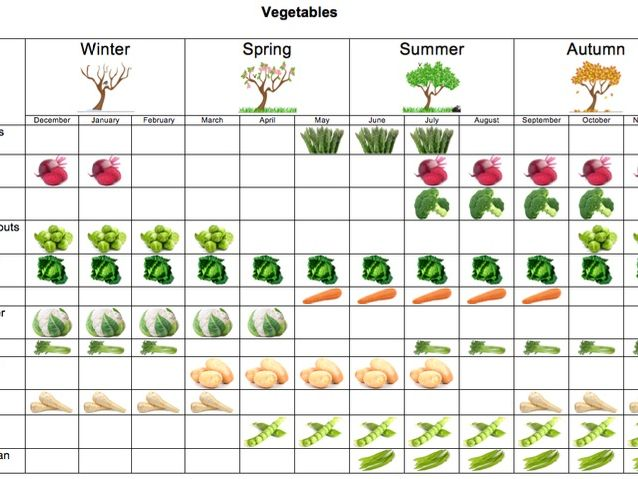 Vegetable seasonality table & group activity