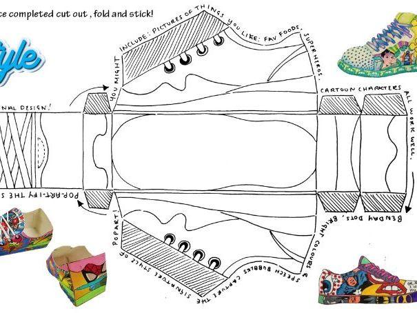 Pop art shoe 3d net worksheet. Something new and different.