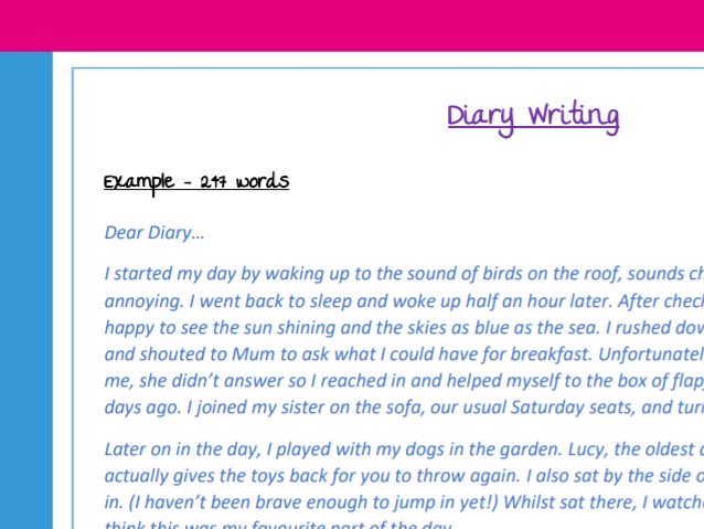 Example of diary writing (KS2) with task to set - great for a distance learning task