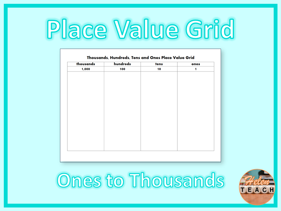 Place Value Grid from Ones to Thousands