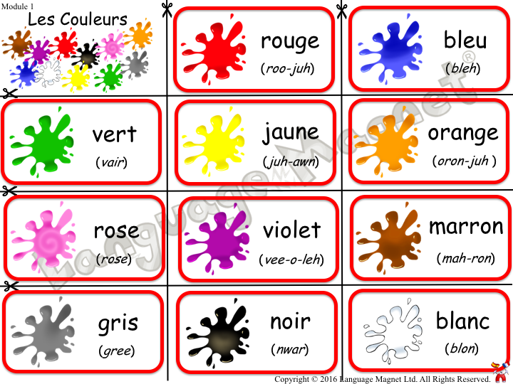 French Colours Bingo Game