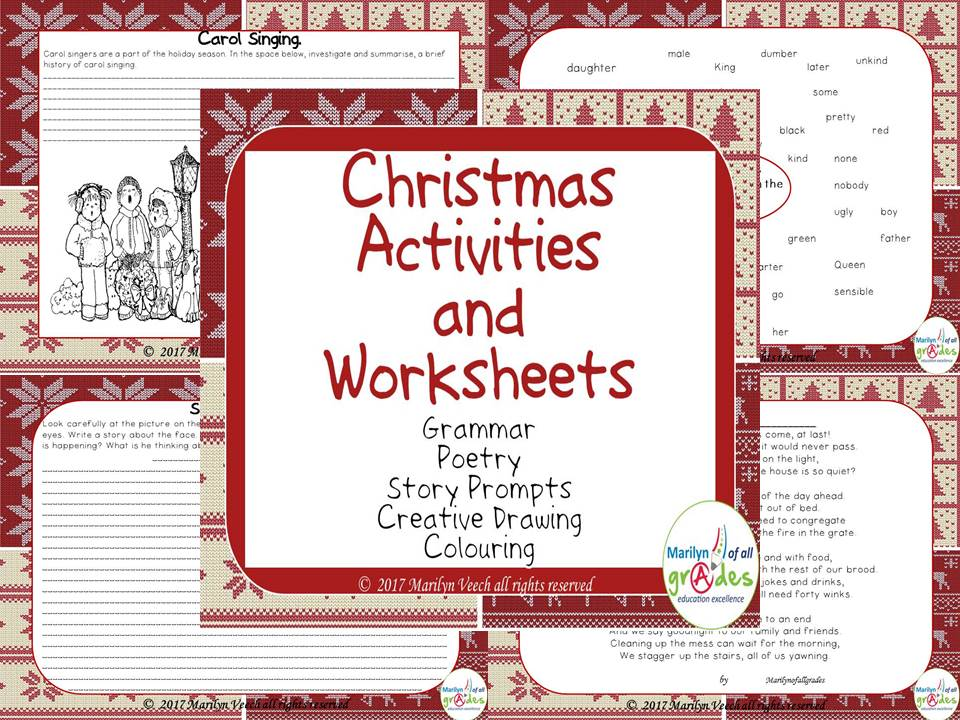 Christmas Activities & Worksheets, Grammar, Poetry, Creative drawing, Story Prompts, Colouring.