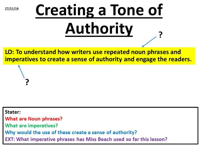 Creating a Tone of Authority