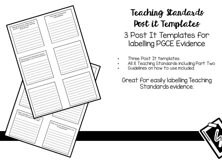 Teaching Standards Post It Templates