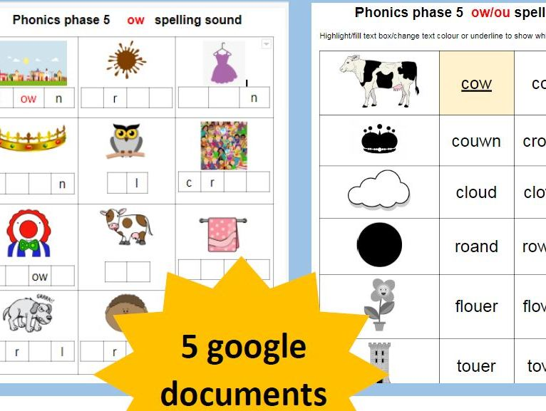 Year 2 Phonics OW  OU   alternative spellings  GOOGLE DOCUMENT  home learning