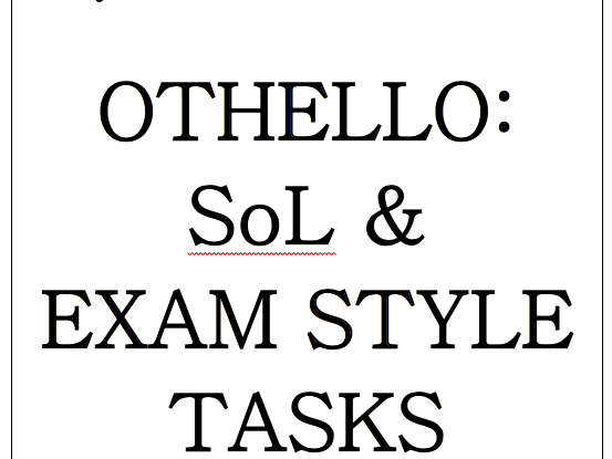Eduquas GCSE English Literature Othello SoL & exam style questions