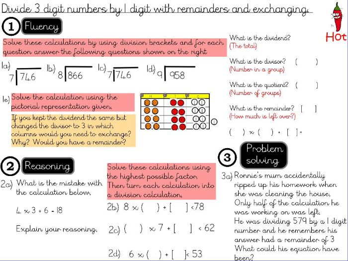 Multiplication and Division -Divide 3 digit numbers by 1 digit with remainders and exchanging